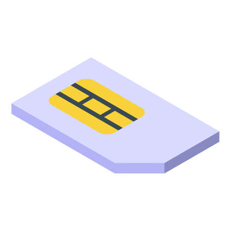 Personal sim card icon, isometric style