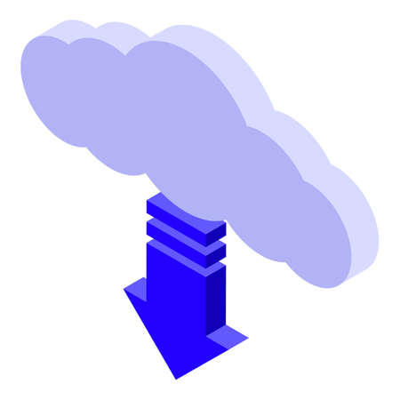 Data cloud remote access icon, isometric style