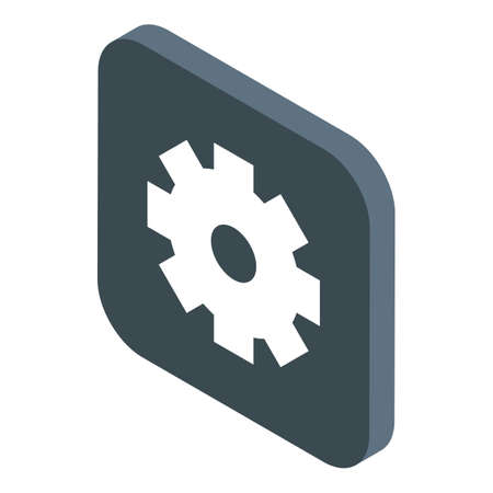 Gear operating system icon, isometric style