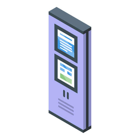 Bus ticket kiosk icon, isometric style