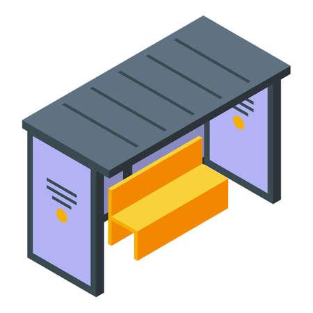 Bus station icon, isometric style