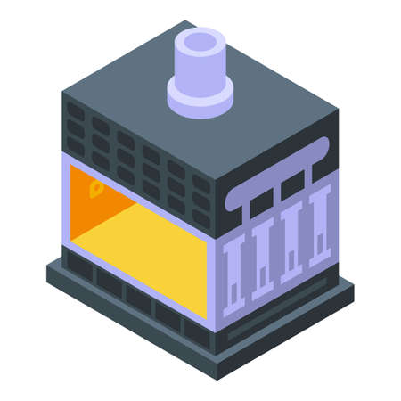 Metallurgy oven icon, isometric style