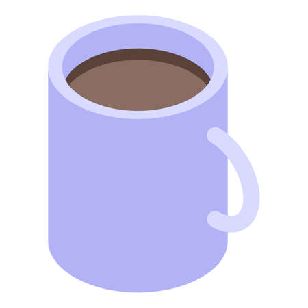 Desktop coffee mug icon, isometric style