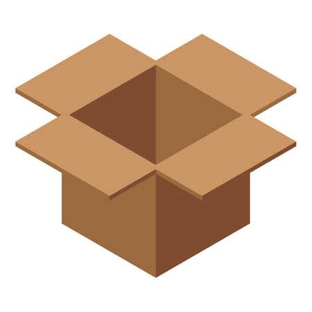 Open carton box icon, isometric style