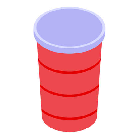 Drink cold cup icon, isometric style