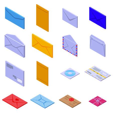 Envelope icons set, isometric style Vectores