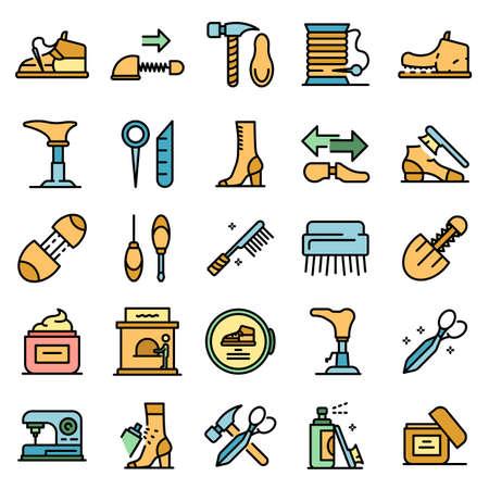 Shoe repair icons set vector flat