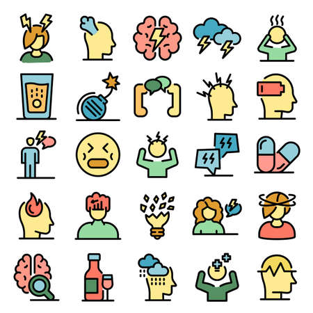 Stress icons set vector flat
