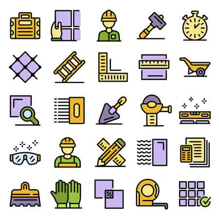 Tiler icons set vector flat Vecteurs