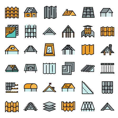 Roof icons set vector flat