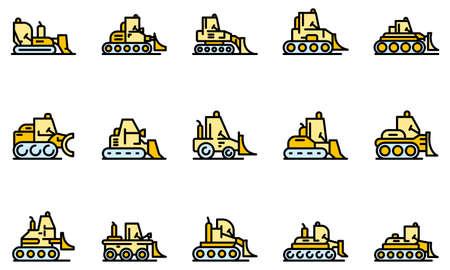 Bulldozer icons set vector flat