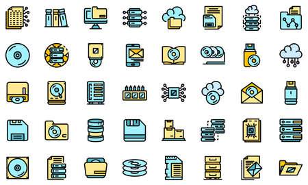 Storage icons set vector flat