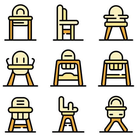 Feeding chair icons set vector flat