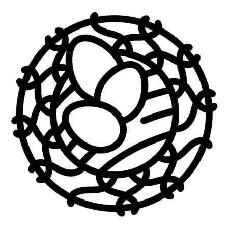 Quail nest eggs icon, outline style Illustration