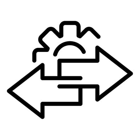 Gear restructuring icon, outline style