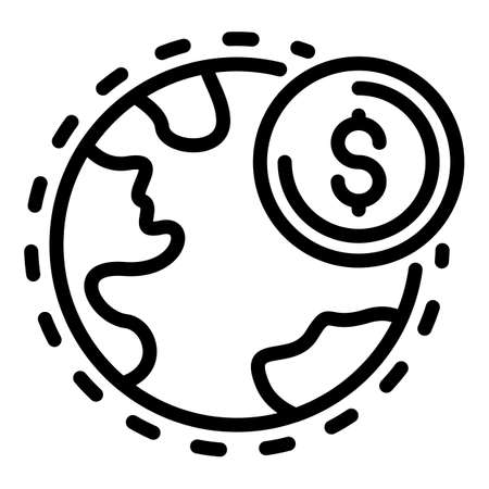 Global restructuring icon, outline style