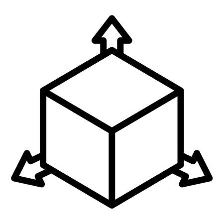 Restructuring 3d direction icon, outline style Çizim