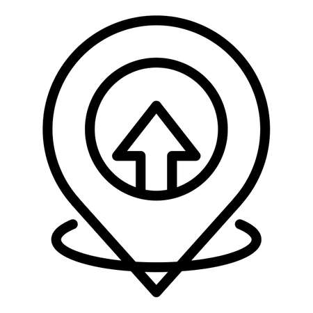 Hitchhiking gps pin icon, outline style