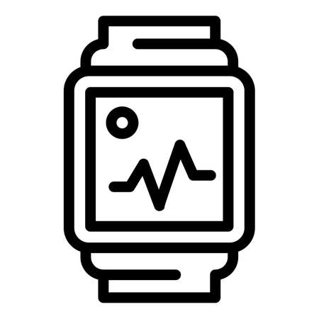 Fitness watch icon, outline style