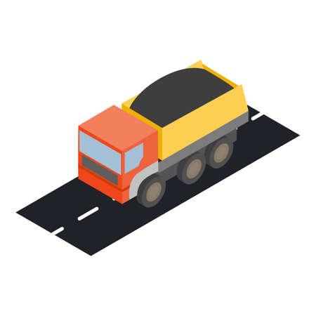 Dump truck icon, isometric style
