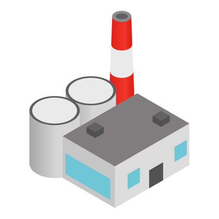 Coal plant icon, isometric style