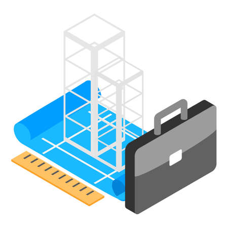 Building project icon, isometric style
