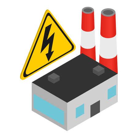 Power plant icon, isometric style Stock Illustratie