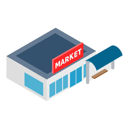 Store building icon, isometric style