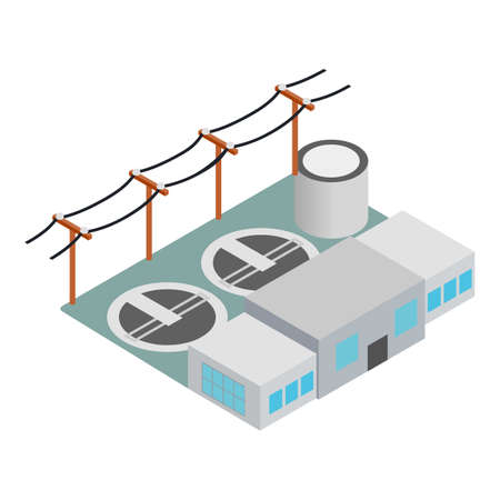 Power station icon, isometric style Illustration