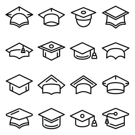 Graduation hat icons set, outline style