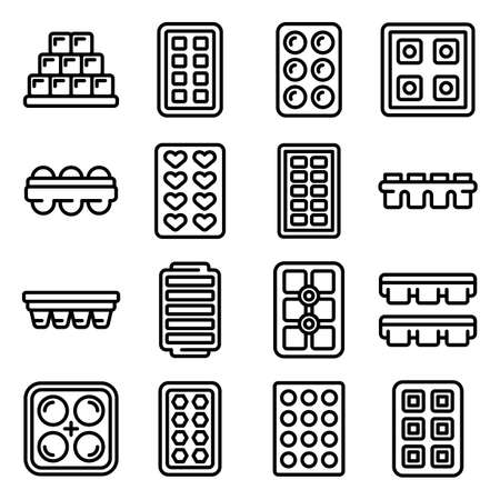 Ice cube trays icons set, outline style