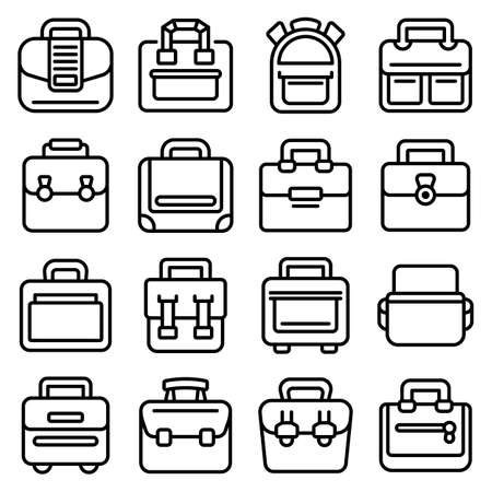 Laptop bag icons set, outline style