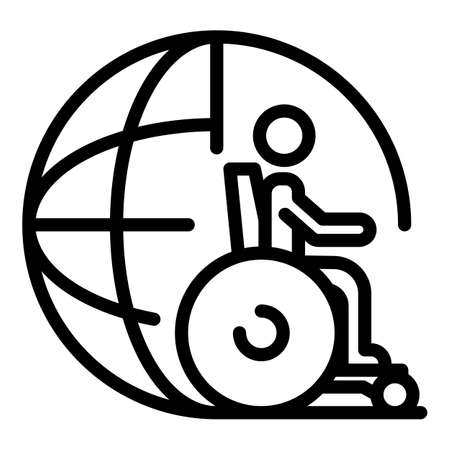Global inclusive education icon, outline style