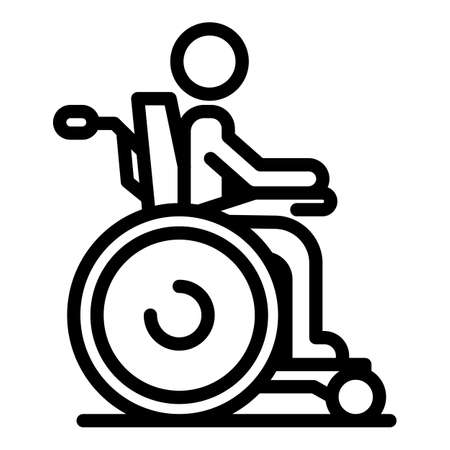 Boy wheelchair inclusive education icon, outline style