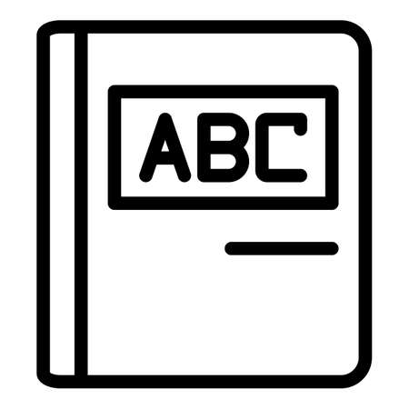 Abc education book icon, outline style