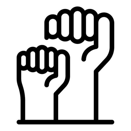 Fist empowerment icon, outline style