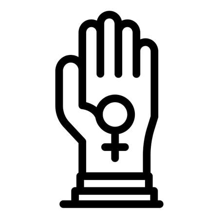 Keep woman empowerment icon, outline style