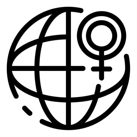 Global woman empowerment icon, outline style