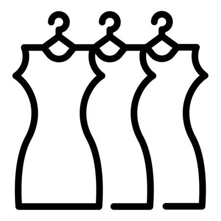 Dresses from dressing room icon, outline style Stock Illustratie