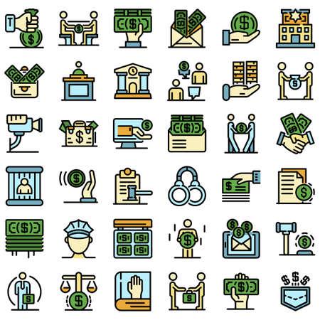 Bribery icons set vector flat