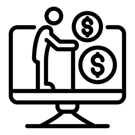 Senior man allowance icon, outline style