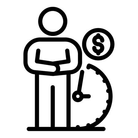 Man waiting pension icon, outline style  イラスト・ベクター素材
