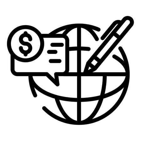 Global pension benefit icon, outline style