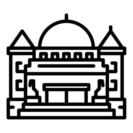 City parliament building icon, outline style