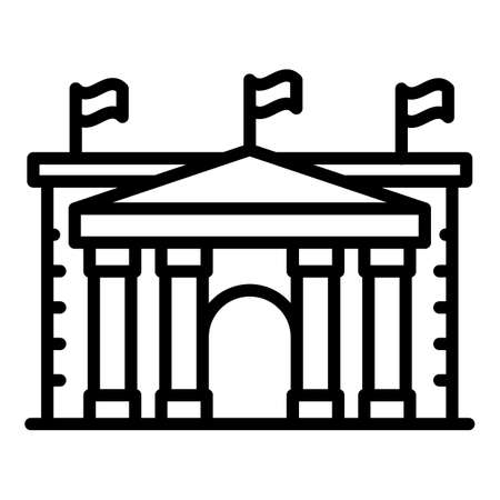Bucharest parliament icon, outline style