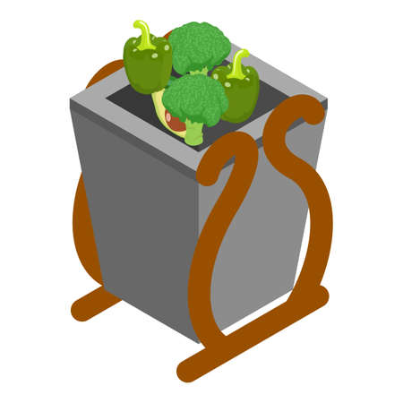 Organic garbage icon, isometric style