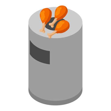 Organic waste icon, isometric style