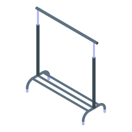 Dry cleaning clothes hanger stand icon, isometric style