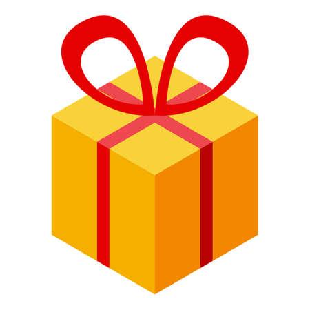 Subsidy gift box icon, isometric style