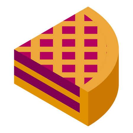 Gluttony apple pie icon, isometric style Ilustração